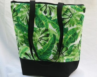 Tropical Foliage-Hawaiian Print Insulated Lunch Bag-Tote-Eco-Friendly and Washable-Water and Mildew Resistant Interior-Extra Large-Tall Size