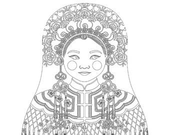 Chinese Bride Matryoshka Coloring Sheet Printable file