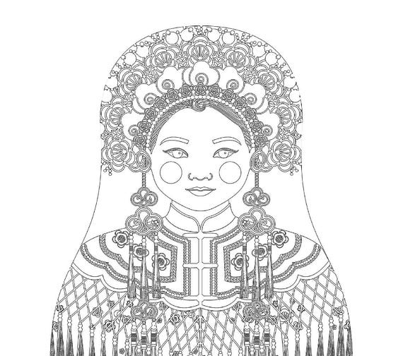Chinese Bride Doll Traditional Dress Coloring Sheet Printable