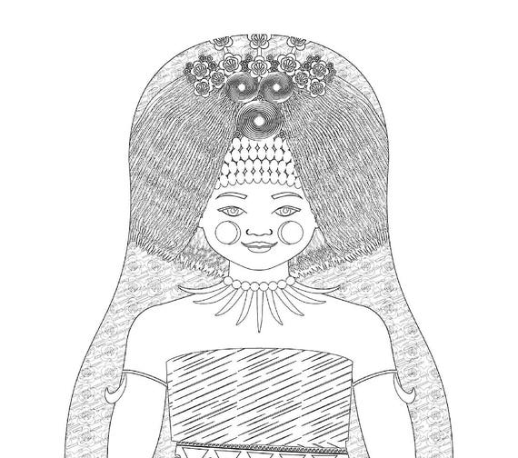 Samoan Doll Traditional Dress Coloring Sheet Printable Matryoshka