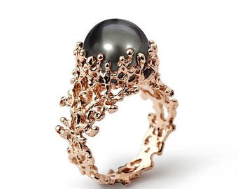 SALE 20% Off - CORAL Tahitian Pearl Ring, Rose Gold Pearl Engagement Ring, Black Pearl Engagement Ring, Rose Gold Ring, Unique Pearl Ring