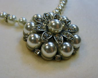 Pearl Flower Necklace-white and silver, rhinestone magnetic clasp,  18 1/4 inches or 46.5 cm