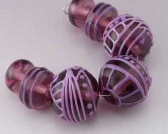 Pastel Purple Scrollwork Lines Dots Scrolls Texture Transparent Amethyst Round Bead Set Heather Behrendt BHV SRA LETeam 4138