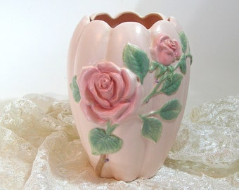 Fitz and Floyd Pink Roses Vase 1987