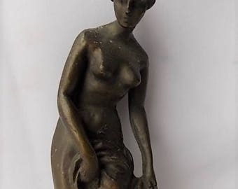 Vintage Classical Nude Woman Finial Statue