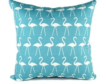 CLEARANCE Premier Prints Flamingo Coastal Blue Decorative Throw Pillow - Free Shipping