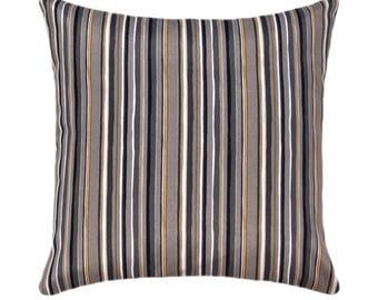 Grey Stripe STUFFED Outdoor Pillow, Cala Stripe Slate Gray Throw Pillow, Black Gold Grey Outdoor Cushion, Gold Accent Throw Pillow Free Ship