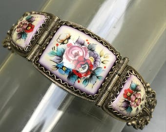 Old Hand painted Silver Bracelet  . Enamel Jewelry