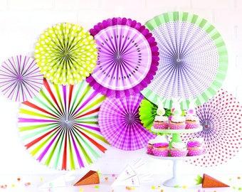 Easter Bunny Hop - Party Paper Fans - Easter Party Decor - Easter Paper Lollies - Paper Rosette Backdrop  Paper Fan Pinwheel Backdrop PLBH01