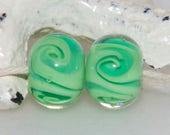 Lime Green Swirlies Handmade Glass Bead Pair