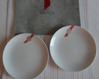 TWA Vintage Menu from First or Business Class 1995 Bread Plates with Logo