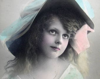 Antique pretty girl photo postcard, Antique Edwardian girl photo postcard, Antique French photo postcard, Antique girl with large hat RPPC