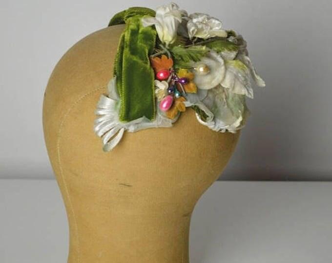 sale Vintage Hats, White Hat, 50s Hat, Spring Hat, Bridal Hat, 1950s Hat, Half Hat, Mini Hat, Cocktail Hat, Topper Half Hat, Spring Hat,