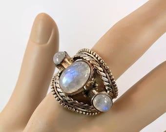 Moonstone Ring, Sterling Silver, Vintage Ring, Sterling Moonstone, Size 8, Cigar Band, Wide Ring, Ring Band, Big Stones, Ethnic, Statement