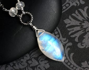 """Moonstone Necklace, Rainbow Moonstone, Sterling Silver - """"Moondagger"""" by CircesHouse on Etsy"""