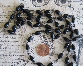 Black Glass Vintage Rosary Chain Necklace, Teardrop Shape