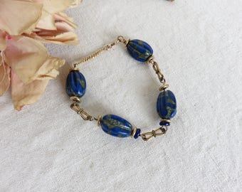 Vintage French Lapis Lazuli Bead Bracelet, Gold Plated Chain Links, Paris Chic Vintage Jewelry, Vintage Fashion Accessory, Pretty Blue Beads