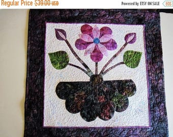 Summer Sale Quilted wall hanging modern wall art applique purple  small wall decoration