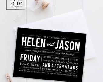 Sample wedding invitation set - Draper B&W collection