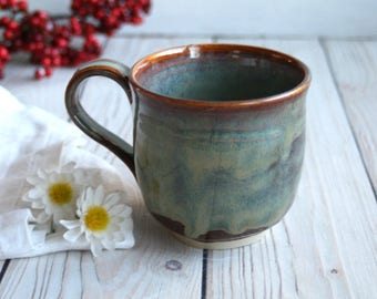 Handcrafted Coffee Cup in Earthy Green Glaze Handmade Pottery Mug Ready to Ship Made in the USA
