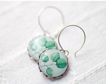 Mint Leaves earrings - Spring Leaves earrings - green leaf earrings - mint earrings - green earrings - blue earrings - Spring jewelry (E017)