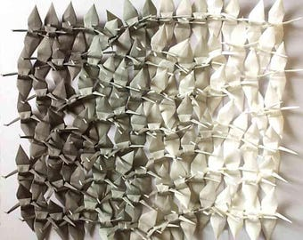 1000 Small Origami Cranes Origami Paper Cranes - Made of 7.5cm 3 inches Japanese Paper - Grey White - Ready to Use