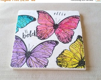 XMASINJULYSale Butterfly Trivet -  Personalized Mother's Day Gift Colorful Spring Kitchen Home Decor  - Tile Pot Holder - Be Bold Butterfly
