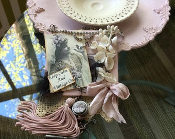 Pink Vintage-style Ornament - Pink Victorian Ornament - Mom Gift - Grandma Gift - Keep Calm and Vintage On Gift