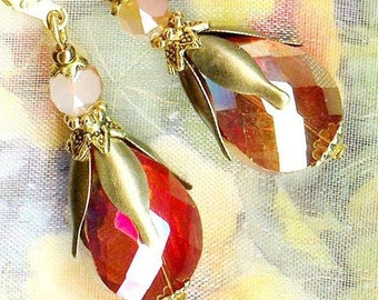 Earrings drops COGNAC ORANGE Crystal ❀ OR726 ❀