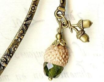 Natural green Crystal and Bronze MP167 TASSEL bookmark mINI-Marque