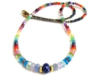 Gemstone Rainbow Necklace ~ Lapis, Sapphire, Tanzanite, Apatite, Peridot, Chrysoprase, Tourmaline and more! NATURAL gemstones