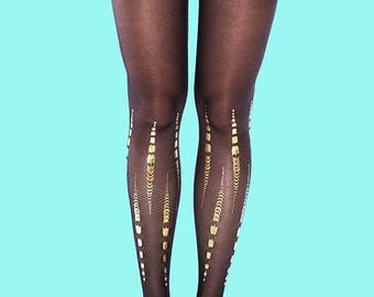 Holiday gift Tattoo tights, gold print Bamboo, black tights available in S-M, L-XL gift for her, gift ideas