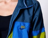 40% SUMMER SALE The Vintage Blue & Green Nike Zip Up Swishy Jacket