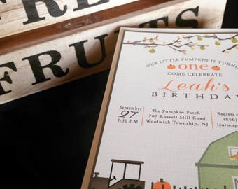 Fall Harvest Invitation with pumpkin patch, apple orchard hayride and barn