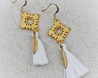 Gold Filigree and White Tassel Earrings