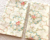 2 King Pillowcases by Fieldcrest Peach and Blue Flowers on Cream Farmhouse Decor Vintage Bed Linens