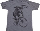 SUMMER SALE Hammerhead on a Bike- Mens T Shirt, Unisex Tee, Cotton Tee, Handmade graphic tee, Bicycle shirt, Bike Tee, sizes xs-xxl