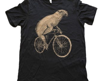 Sea Lion on a Bike- Mens T Shirt, Unisex Tee, Tri Blend Tee, Handmade graphic tee, Bicycle shirt, Bike Tee, sizes xs-xxl