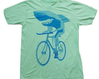 SUMMER SALE Shark on a Bicycle - Mens T Shirt, Unisex Tee, Cotton Tee, Handmade graphic tee, Bicycle shirt, Bike Tee, sizes xs-xxl