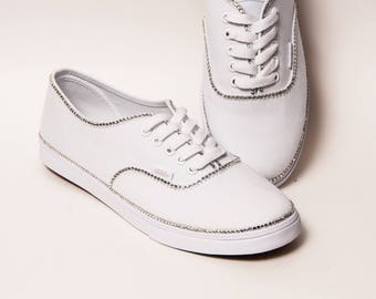 Rhinestone - Crystal Rimmed on White Vans Canvas Lo Pro Sneakers Shoes