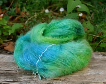 Skein of kid mohair/silk yarn dyed by hand