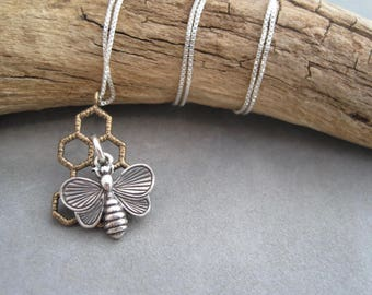 Bee Necklace -Honeycomb- Bee Jewelry -Nature Inspired - Mixed Metal - Bee Pendant- Bronze - Silver