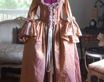 Golden peach silk sack back dress tan shimmer satin skirt Marie Antoinette Victorian inspired rococo costume dress