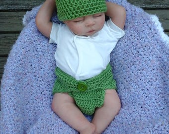 Baby Frog Outfit, Newborn to 3 Months, Photo Prop, Ready to ship
