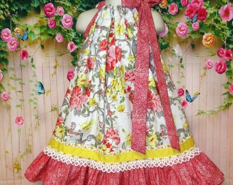 Girls Dress 4T/5 Coral Yellow White Floral Pillowcase Dress Sundress