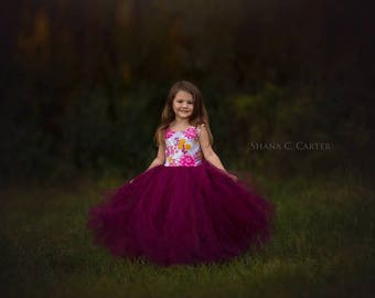 NEW! The Juliet Dress in Floral Wine - Flower Girl Dress