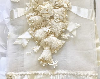 One-of-a-Kind Vintage Tablecloth Wedding Bridal Shower Tulle Netting Felt Applique Beading Sequins White Birds Bells STUNNING!