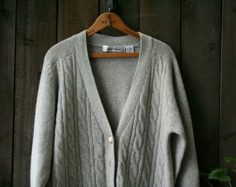 Soft Gray Wool Cardigan Lambswool Cable knit Vintage From Nowvintage on Etsy