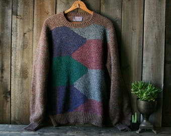Vintage Pendleton Wool Sweater Pullover Crew Neck Brown Blue Gray Mens Large Vintage From Nowvintage on Etsy