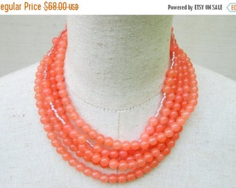 XMAS in JULY SALE Light Orange Peach Beaded Layered Necklace, Coral Tangerine Salmon Beads Choker Collar